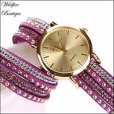 Ladies Large Face Quartz Bracelet Wrap Wrist Watch with Crystals & Gold Studs