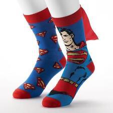 DC COMICS Mens 2 Pair/Pack Superman Crew SOCKS with Cape Shoe Size 6-12 ___B03
