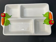 Vegetable/Dip Ceramic Serving Dish/Tray With Carrot & Tomato Handles