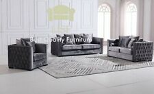 The Cubic Chesterfield in Dark Grey Velvet 1, 2, or 3 Seaters Sofa Sets