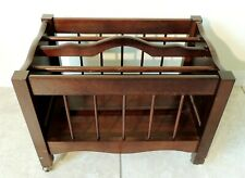 Antique/Vtg Solid Mahogany Canterbury Magazine Book Music Rack Stand Holder