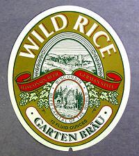 GARTEN BRAU WILD RICE beer label WI 12oz