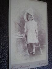 Cdv old photograph girl bonnet spade by Durrand Torquay c1880s ref 32 6