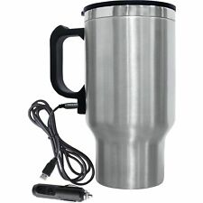 Electric 12v Car Wire Plug Coffee or Tea Mug Stainless Steel Cup Thermal Travel