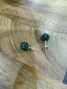 stud earrings green shamballa style
