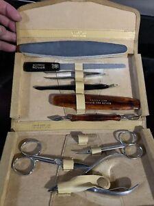 Vintage Revlon Manicure Set Nail Grooming Kit Genuine Suede Case Austria
