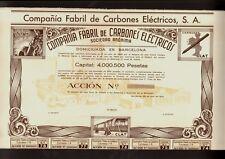 SPAIN  Compania Fabril de Carbones Electricos Barcelona 1941