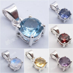 925 Sterling Silver 4-Prong Setting Pendant ! Affordable Wedding Jewelry NEW