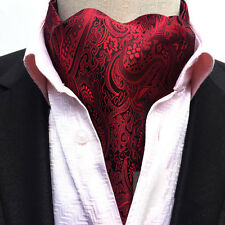 Men Black Flower Paisley Cravat Scarves Ascot Wedding Party Prom Necktie LJA18