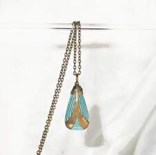 ~VTG 1920s ART DECO embossed GILT AQUAMARINE GLASS PENDANY NECKLACE!~~