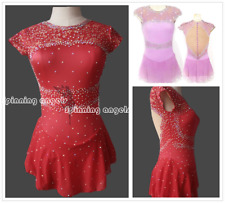 Red Ice Figure Skating Dresses Custom Women Competition Skating Dress Girls