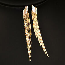 Sexy Ladder Gold/Silver Crystal Long Tassels Earrings Wedding Party Jewelry