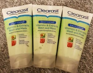 3 x Clearasil Daily Clear Vitamins and Extracts Wash and Mask 150ml(total 450ml)