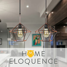 Modern Dimond Geometric Cage Copper Tone Wire Industrial Ceiling Pendant Light
