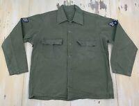 HBT JACKET - Vtg WWII Green Herringbone Twill 13 Star Buttons Field Shirt, LARGE