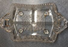 Vintage CAMBRIDGE handled footed Crystal Etched Grape Leaves Divided Relish Tray