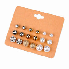 9 pairs of Circle Studs Earrings Multi Pierced Ears Gold Silver Pearl Ball E1405
