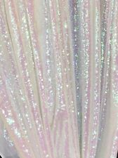 1 Yard! White Holographic Iridescent Sequins Fabric.Mermaid,Unicorn,Prom Dress