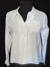 VERY RARE FRENCH 1920'S-1930'S OFF  WHITE LINEN BLEND BLOUSE SIZE SMALL