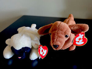 TY Beanie Babies, Weenie & Chops the Lamb, 1995, PVC Pellets, Lot of 2