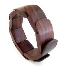 Natural Sono Wood Stretchable Cuff Bangle Bracelet Handmade Women Jewelry GA079