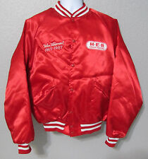 Vtg Men's Red Nylon Satin Snap Front HEB Senior Partner Coat Jacket Sz L Large