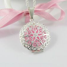Aromatherapy Essential Oil Perfume Diffuser Locket Pendant Necklace 75cm +5 Pads