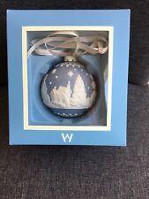 Wedgwood Jasperware English Countryside Blue & White Ball Ornament In Box