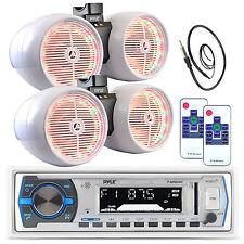 "2 6.5"" White Tower LED Speaker Sets, Bluetooth USB AM FM Pyle AUX Radio, Antenna"