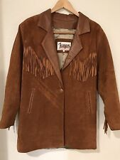 Vintage Ladies Leather Jacket with Fringe made in USA