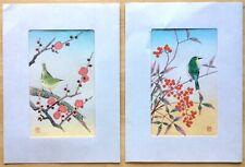 "2 Vintage Shizuo Ashikaga Japanese woodblock prints - Birds - Folders 8""x10"""