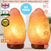 2 xPcs 1-2 KG GIFT PACK NATURAL HIMALAYAN SALT LAMPS CRYSTAL LIGHT IONISER RELAX