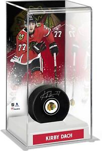 Kirby Dach Chicago Blackhawks Autographed Puck with Deluxe Tall Hockey Puck Case