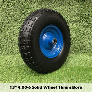13x4 4.00-6 solid 16mm Bore Trolley Wheelbarrow Tyre Wheel Wheels Puncture tyres