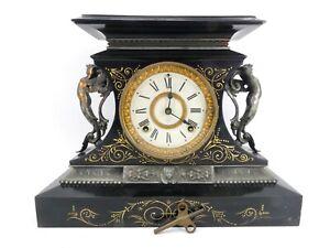 Antique Ansonia Metal Mantle Clock With Pendulum Chime & Key