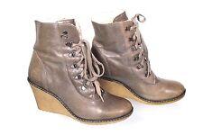 17S Görtz Stiefeletten Schnürstiefel Boots Leder Gr. 40 grau Wedge Keilabsatz