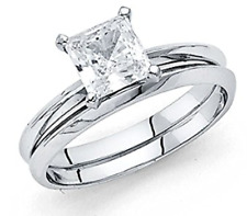 1.30 Ct Princess Engagement Wedding Ring Set Real 14K White Gold Matching Band