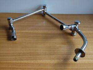 Vintage 2 Head Chrome Shower Head pivots in 3 places