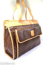 Vintage CELINE Coated Canvas Leather Brown Monogram Shoulder Bag