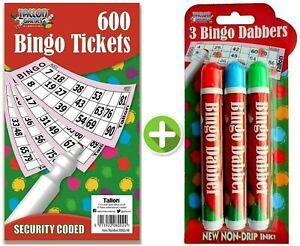 2 in 1 Bingo Dabbers Marker Pens 3 Colours + 600 Tickets Non Drip Ink Dabber Set