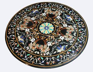 Black Round Marble Dining Table Top Pietra Dura Handmade Floral Inlay Decor B358