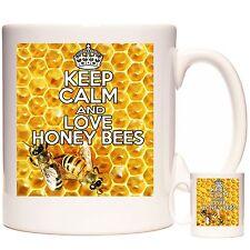 HONEY BEE MUG, Keep Calm and Love Honey Bees, ceramic gift mug for BEE KEEPERS