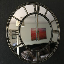 LARGE 56cm RUSTIC BRONZE METAL LOOK ROUND WALL CLOCK ROMAN NUMBERS MIRROR FACE