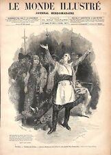 Paris Théâtre de l'Odéon l'Hetman de Paul Déroulède Costume Russie GRAVURE 1877