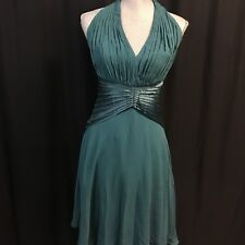 TADASHI Size 2 100% Silk Teal Blue Gathered Halter Formal Cocktail Evening Dress