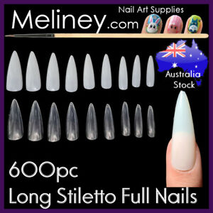 600pc Long Stiletto Full Cover Nails Pointy Claw False Fake Art Extension
