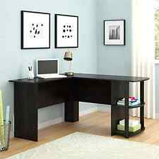 L Shaped Corner Desk Workstation Computer Home Office Executive Gaming - Brown