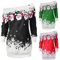 UK Womens Long Sleeve Blouse Shirt Ladies Christmas Santa Snowflake Baggy Jumper