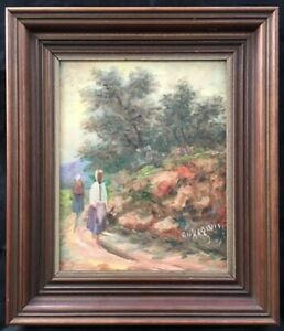 Mid 20th Century Greek/Cypriot School Oil on Canvas Painting. Signed.