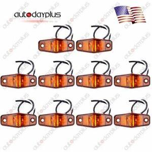 10pcs Amber 2Diode LED Truck Clearance Lamp Side Marker Trailer Lights Universal